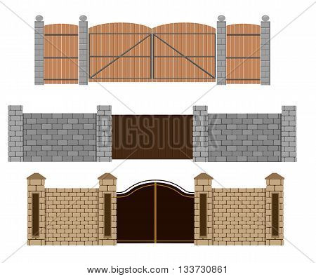 Fence vector illustration. Brick fence and wood fence. Different designs of fences and gates isolated on a white