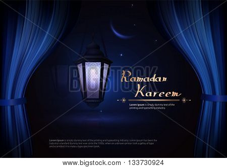 Arabic vector Lamp on dark abstract background for Ramadan Kareem. Hanging illuminated lamp with light. The view from the window on the lamp and the night sky with the moon and stars