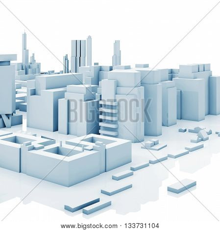 Abstract Contemporary Cityscape, Blue 3 D