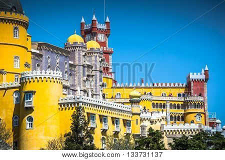 Sintra Portugal at Pena National Palace .