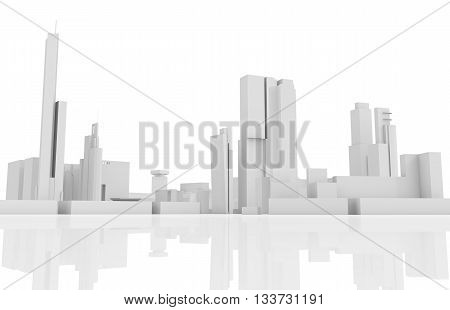 Abstract Contemporary Cityscape, 3 D Builds