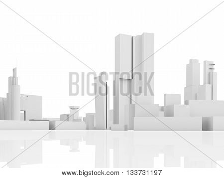 Abstract Contemporary City, Tall 3D Houses