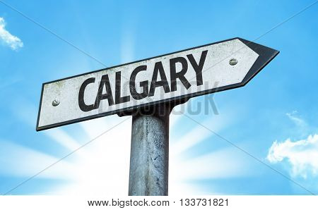Calgary direction sign in a concept image