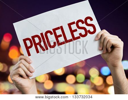 Priceless placard with night lights on background