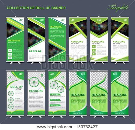 Collection of Green Roll Up Banner Design polygon background flyers banners labels roll-up and card template