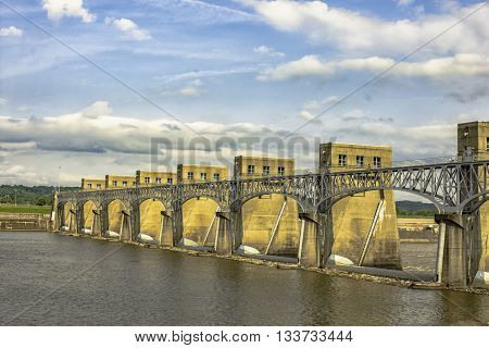 Gallipolis Ohio USA - May 26 2016: Robert C. Byrd Locks & Dam Abutment Access. First built in 1937 this dam spanning the Ohio River from West Virginia to Ohio is named for West Virginia Sen.Robert C. Bird longest serving member of the U.S. Senate.