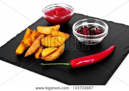 Potato Wedges, Potatoes in a Rural with Tomato Ketchup Studio Photo