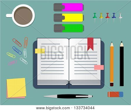 Stationery: daily planner, markers, paper clips and cup of coffee. Vector illustration. It can be used for the websites, registration of magazines, booklets, leaflets