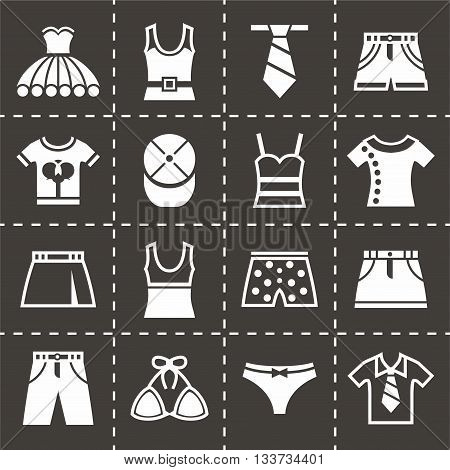 Vector Clothes icon set on black background