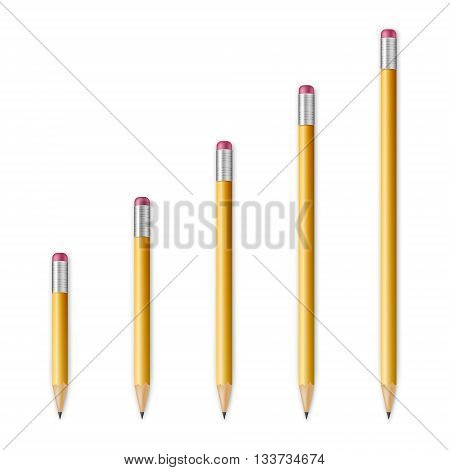 Yellow wooden sharp pencils isolated on a white background. Vector EPS10 illustration.