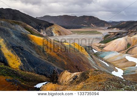 Landmannalaugar Camp among colorful rhyolite mountains Iceland