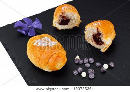 Delicious Crispy French Croissants on Plate Studio Photo