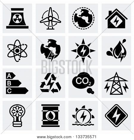 Vector Energetics icon set on grey background