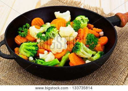 Steamed Vegetables Potatoes, Carrots, Cauliflower, Broccoli Studio Photo