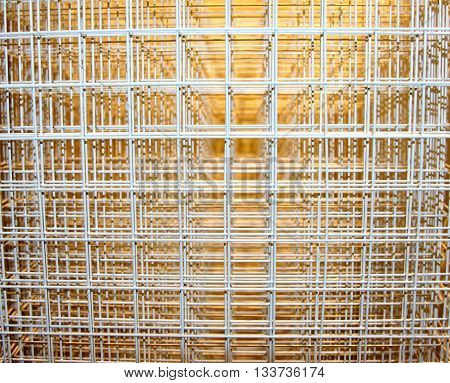 Steel mesh basket piled on top of each other