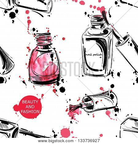 Vector abstract background with nail polish. Watercolor seamless pattern. Fashion illustration. Beauty and fashion.
