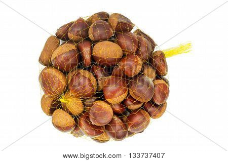 One Bag Of Raw Chestnuts Isolated On White Background