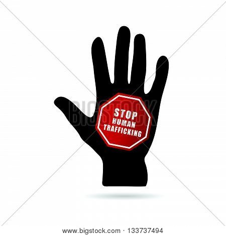 Stop Humain Trafficking Icon Illustration With Hand
