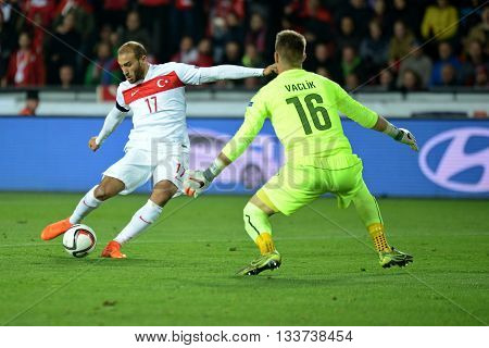 PRAGUE 10/10/2015 _ Cenk Tosun and Tomas Vaclik. Match of the EURO 2016 qualification group A Czech Republic - Turkey