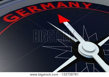 Black compass with Germany word on it 3D rendering