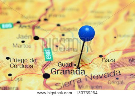 Guadix pinned on a map of Spain
