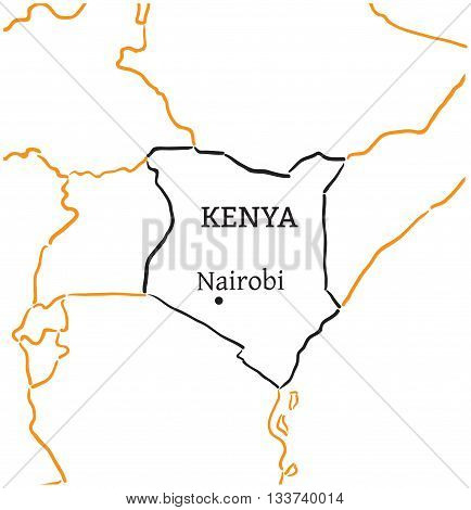 Kenya country with its capital Nairobi in Africa hand-drawn sketch map isolated on white