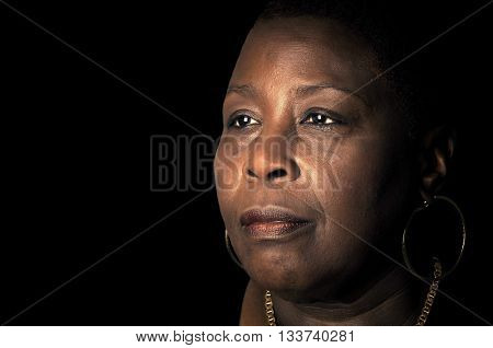 Powerful Portrait of a Afro American woman with wisdom