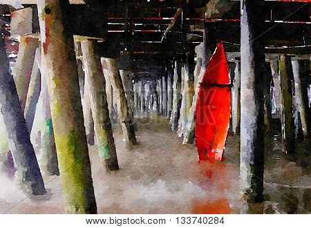Beautiful Painting of a rescue Boat under the Pier in Santa Monica