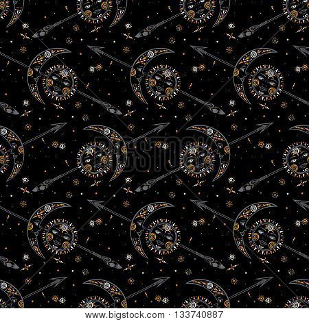 Vector seamless celestial pattern with moons, suns, faces and arrows in tribal style and ethnic motif. Boho chic print hand drawn in dark colors with small details and elements. Textile design