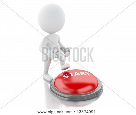 3d renderer image. White people push START button. Isolated white background.