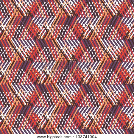 Vector seamless geometric pattern with striped triangles, abstract diagonal shapes in bright colors. Hand drawn background with overlapping lines in 1980s fashion style. Modern funky textile print
