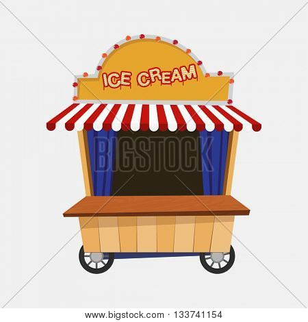 Ice cream cart vector illustration. Fun cartoon ice cream stall mobile commerce