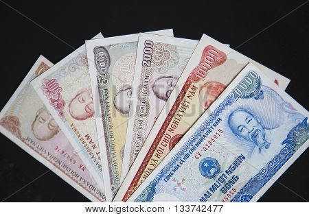 Close up of Vietnamese money - Vietnam Dong (VND). Concept of Vietnam and Asia economy and finance.