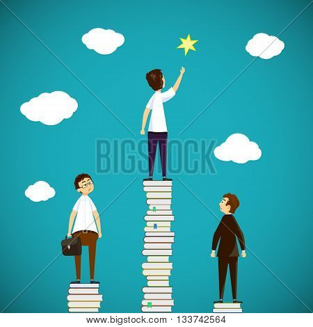 Man standing on a stack of books. Scientific discoveries and education. Stock vector illustration.