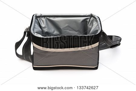 grey and black lunch pack carrier opened on a white background