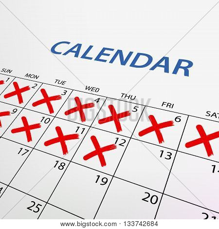 Calendar with red marks. Stock vector illustration.
