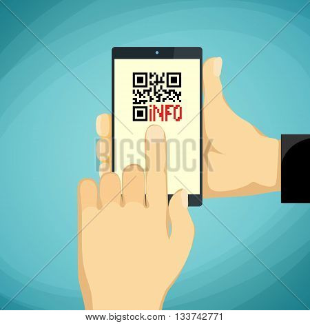 Man holding a smartphone. QR-code on the phone screen. Stock vector illustration.