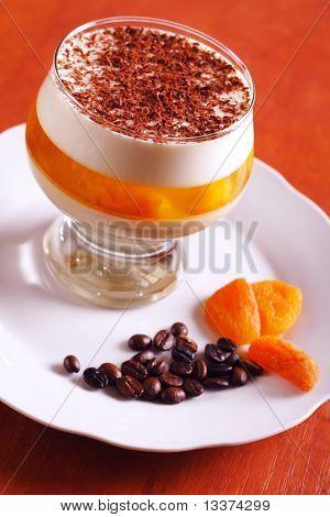 Multilayer gelatin dessert with chocolate cream