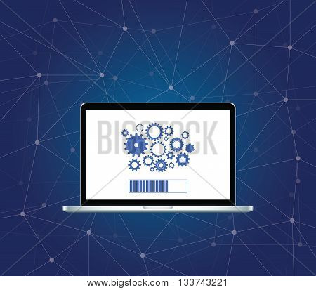 install installing process with gear on screen of the laptop with dot galaxy network background vector graphic illustration