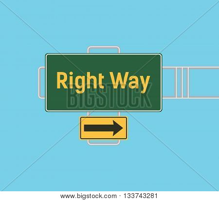 right way arrow guide with sign board with green background vector graphic illustration