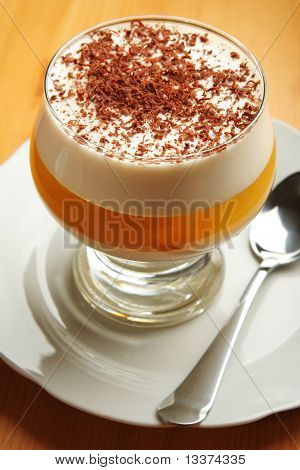 Multilayered gelatin dessert with chocolate cream