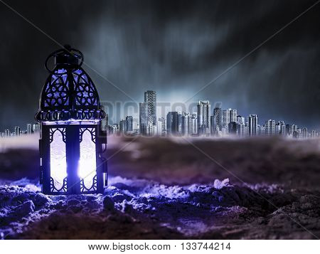 green Lantern shining on sand floor playground children play with it in Ramadan night arabic style lantern vintage lantern