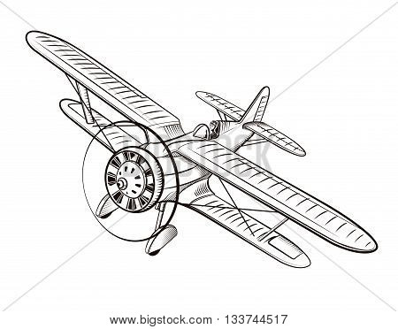 Old airplane, biplane, illustration in vintage style, Hand drawn retro plane