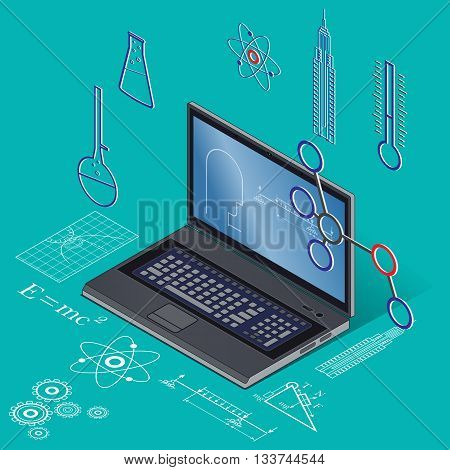 Internet network as knowledge base. Education online,  e-learning. Vector illustration graphic