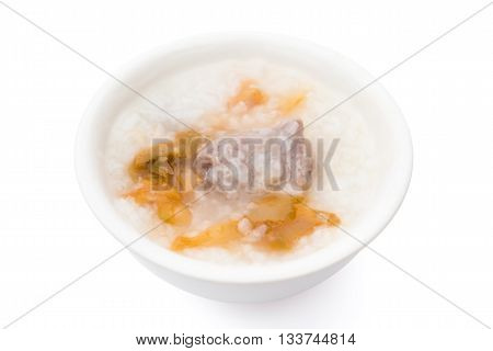 healthy rice porridge with salty-mustard and pork on white with clipping path