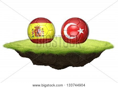 Spain and Turkey team balls for football championship tournament, 3D rendering