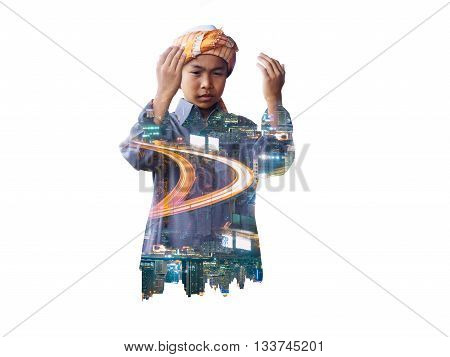double exposure of muslim child praying for Allah muslim God