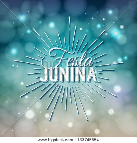 Festa Junina. Traditional Brazil June festival party - Midsummer holiday. Latin American holiday the inscription in Portuguese Festa Junina. Vector Logo Illustration