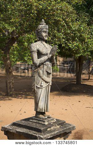 Ancient statue of king Devanampiyatissa on the Mangrove plateau. Mihintale, Sri Lanka