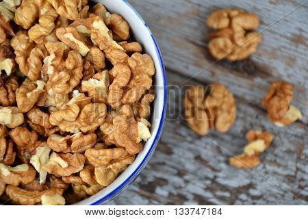 Walnut Nuts Clean Fresh Organic Walnuts Blue Wooden Background 3